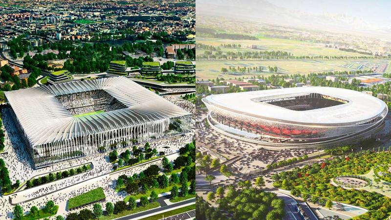 Dwie wizje wielkiego stadionu w Mediolanie